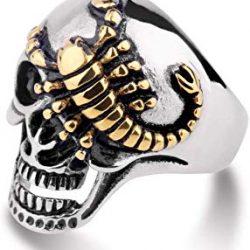 anillo carabela con escorpión dorado